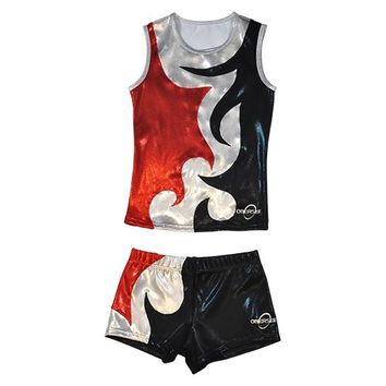 Obersee Cheer Dance Tank and Shorts Set - Mia Red