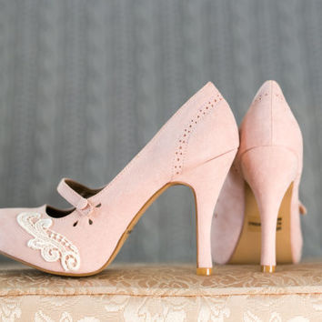 Blush Wedding Shoes - Blush Mary Jane Pumps, Blush Heels, Blush Bridal Shoes with Ivory Lace. US Size 8.5