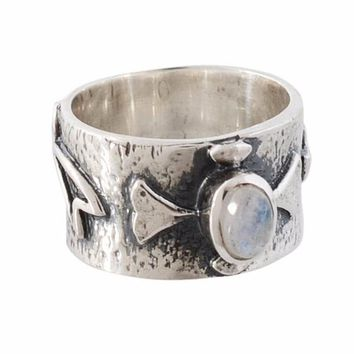 Arvino 925 Sterling Silver Ring With Rainbow Moon Stone
