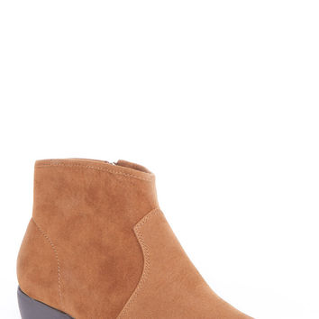 Faux Suede Ankle Boot-Camel-UK 6 - EU 39