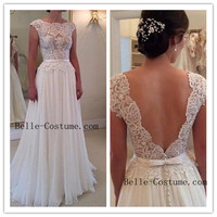 Custom-made Lace Prom Dresses, Ivory Prom Dresses, Lace Wedding Dresses, Lace Wedding Dress