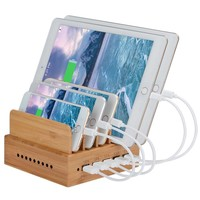 Bamboo Charging Station, InkoTimes Detachable USB Charging Dock Organizer for iPhone / iPad / Universal Cell Phones and Tablets (5 USB Charger Included)