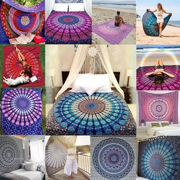 CREYU3C New Indian Mandala Tapestry Hippie Wall Hanging Boho Printed Bedspread Ethnic Beach Throw Towel Yoga Mat Home Decor 210*148cm