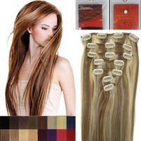 "20"" Clip in Remy Human Hair Extensions Light Brown with Bleach Blonde 7pcs 70g:Amazon:Beauty"