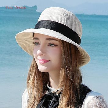 Fairy Dreams Summer Beach Straw Hat Women's New Style Brim Ladies Sun Hat Fashion Panama Sun Visor Caps Sombrero Chapeu Feminino