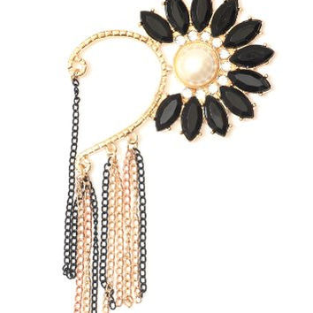 Black Floral Crystal Ear Cuff Metal Wrap Faux Pearl Chain Fringe CB09 Chandelier Earring Fashion Jewelry