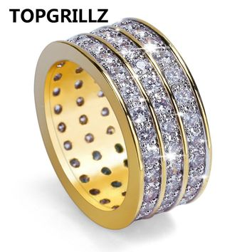 TOPGRILLZ New Style Hip Hop Rock Micro Pave Cubic Zircon Ring Full Iced Out Bling Copper Gold Color Rings For Male Jewelry