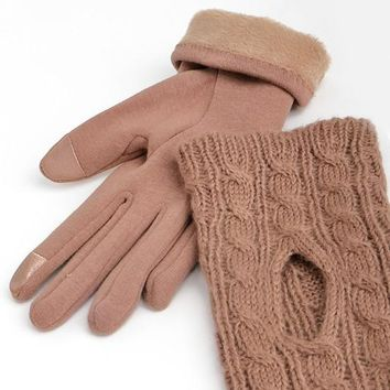 Trina 2-in-1 Gloves in Taupe