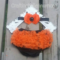 Halloween Diaper Cover, Baby Girl Bloomers, Halloween Bloomers, Halloween Headband, Orange and Black, Baby Girl, Toddler, First Halloween
