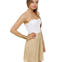 Strapless Dress - Pleated Dress - Color Block Dress - $57.00