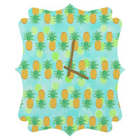 Lisa Argyropoulos Pineapples And Polka Dots Quatrefoil Clock