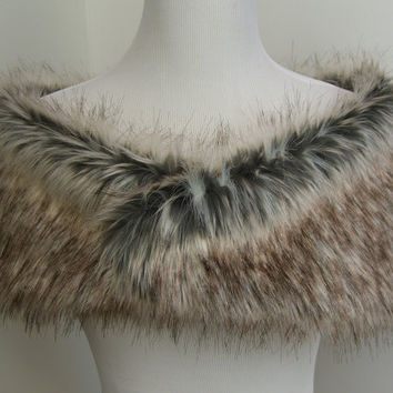 Faux Fur Shrug, Gray/Brown/White Wolf Faux Fur Shawl, Fur Stole, Wedding Shoulder Wrap