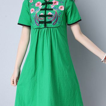 Casual Band Collar Contrast Trim Embroidery Shift Dress