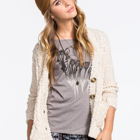 Full Tilt Boucle Cable Knit Womens Cardigan Cream  In Sizes