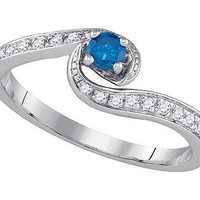 Blue Diamond Fashion Ring in 10k White Gold 0.3 ctw