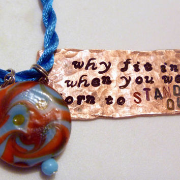 Dr Seuss Quote Upcycled Copper Hand Stamped Necklace