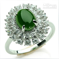 Ring Of genuine Natural and Tian Biyu 925 sterling silver inlaid spinach green jasper Ring / Ring