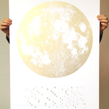 NEW 2016 Moon Phase Calendar, 22x30 large phases screenprint, copper silver gold art print on black, luna lunar wall poster, space, stars