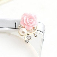 Bee&rose Crystal Rhinestone Rose Pearl 3.5mm Earphone Jack / Dust Plug / Ear Jack /Ear Cap/ Cellphone Charms/headphone Jack Plug for Iphone4s 5g / Samsung Galaxy S3 S4 / Ipad / Ipod Touch / Sony/ Nokia/ Motorola/ Lg /Lenovo /Htc/mi/other 3.5mm Ear Jack (An