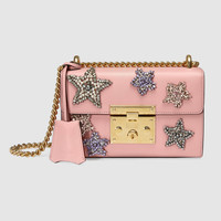 Gucci Padlock embroidered leather shoulder bag
