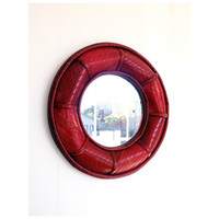 Vintage Round Red Bamboo Mirror