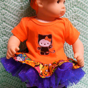 "American Girl Bitty Baby clothes Bitty Twins clothes""Halloween Hello Kitty"" (15 inch)  tutu leggings socks hair clip headband leg warmers"