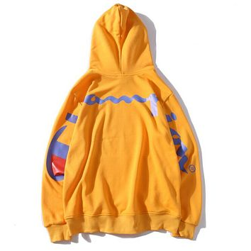 Champion X Supreme New Popular Women Men Multicolor Back Big Logo Print Long Sleeve Hooded Lovers Sweatshirts Pullover Top Yellow I13502-1