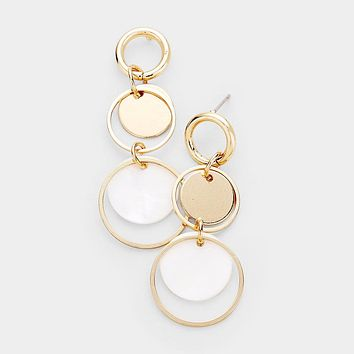 Mother Of Pearl Accented Double Circle Drop Earrings
