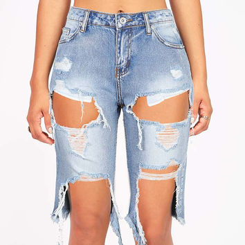 Riptide Ripped Bermuda Denim Shorts