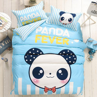 Doodle Bear Bedding Set Panda Fever Printed Bedclothes Sky Blue Cute Comforter Cover Lovely Twin Queen Size 4pcs Bedlinen