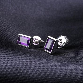 Emerald Cut Natural Amethyst Earrings Ring Set Solid 925 Sterling Silver Jewelry Set For Women Wedding Jewelry