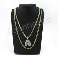 "ICED OUT A INITIAL BUBBLE PENDANT W/ 24"" MIAMI CUBAN /18"" TENNIS CHAIN NECKLACE"