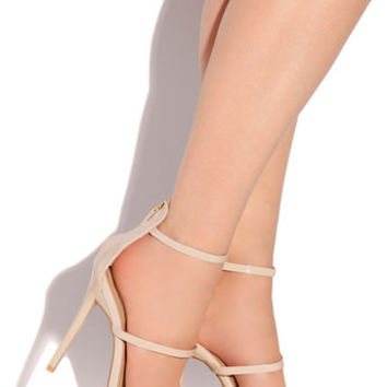 Nora Nude Faux Patent Leather Strappy Heels