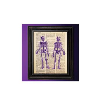 Purple Skeletons, Anatomy, Dictionary Art Print, Vintage, Antique Book Art, Recycled/Upcycled, Old Dictionary Book Page, Gothic Decor