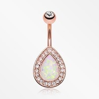 Rose Gold Opal Avice Belly Button Ring
