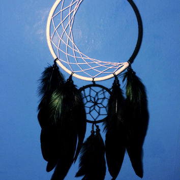 Moon illusion large double dream catcher, white web and black web, black feathers - 15cm diameter dreamcatcher hand made
