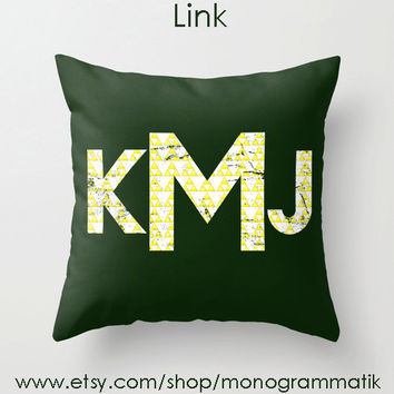 "Monogram Personalized ""Link"" Custom Pillow Cover 16x16 Couch Art Bedroom Room Decor Initials Name Letters Green Yellow Zelda Video Game"