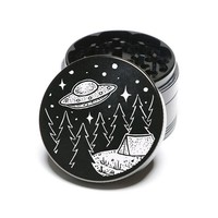 Laser Engraved Herb Grinder - U.F.O. Come Camping With Me Among The Stars Design 4 Piece Grinder GW106
