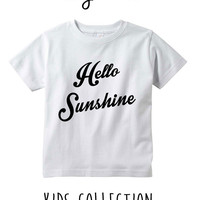 Hello Sunshine Heather Grey / White Toddler Kids T Shirt Clothes Gift