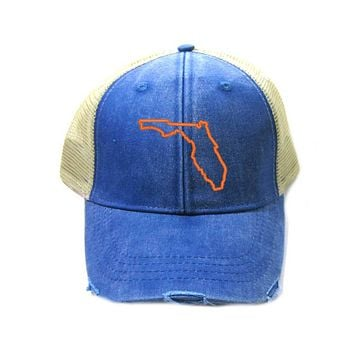 Florida Hat - Distressed Snapback Trucker Hat - Florida State Outline - Many Colors Available