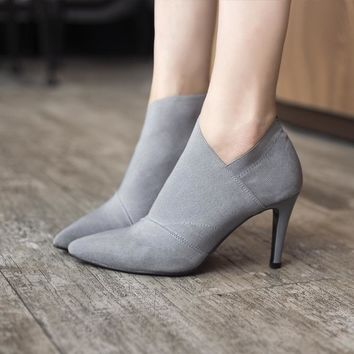 Pointed Toe Leather Ankle Bootie heels