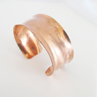 Hammered copper cuff satin finish, gift under 40