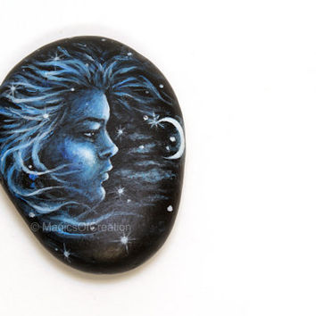 Original Girl Painting on River Stone, Unique Pebble Art, Acrylic Color Portrait