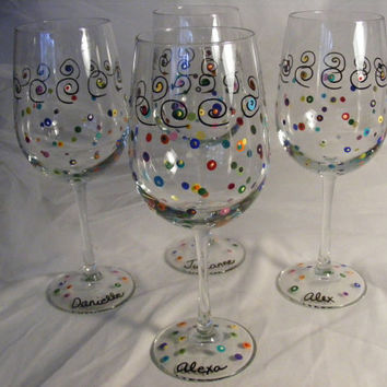 bridesmaid polka dot wine glasses - can be personalized - perfect for bridal shower or luncheon or girls night out