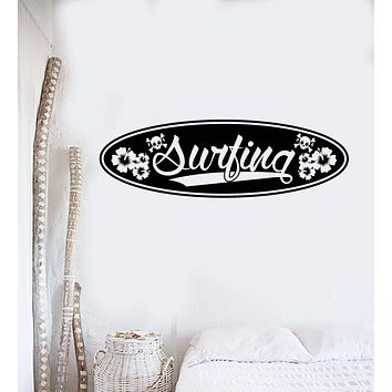 Vinyl Wall Decal Surfing Board Lettering Surfer Surfboard Stickers Mural Unique Gift (ig4953)