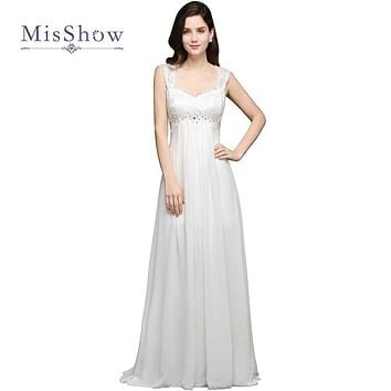 MisShow New Arrival Simple Lace Beach Boho Wedding Dresses 2017 Chiffon Bohemian Bridal Gown Robe De Mariage Vestido De Noiva