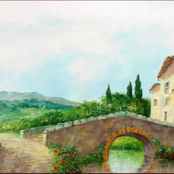 Italian painting Tuscany countryside old bridge originaloil on canvas of Luciano Torsi Italy Italia - Dipinto quadro Toscana