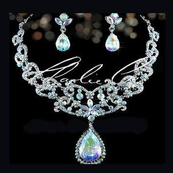 CHARLIE CO. AB Victorian Large Swarovski Crystal Tear Drop Necklace & Earring Set Butterfly feature Wedding Bridal
