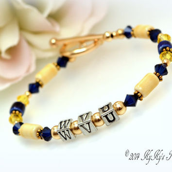 West Virginia University, WVU Jewelry, WVU Bracelet, Sport Team Jewelry, College Jewelry, Football Jewelry, West Virginia Jewelry
