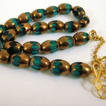 Blue Gold cylindrical glass beads necklace with matching earrings, fashion jewelry, indian jewelry, bridal jewelry,wedding jewelry,gold foil